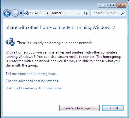 no create homegroup option windows 7